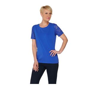 Denim & Co 1X Vibrant Blue Perfect Jersey Scoop Neck Top with Lace Short Sleeves
