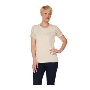 Denim & Co 1X New Stone Perfect Jersey Scoop Neck Top with Lace Short Sleeves