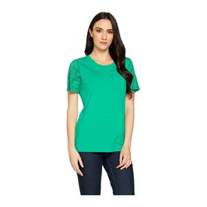 Denim & Co 1X Spring Jade Perfect Jersey Scoop Neck Top with Lace Short Sleeves