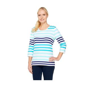Denim & Co. 2X Turquoise Stripe Perfect Jersey 3/4 Sl Color-Block Scoop Neck Top