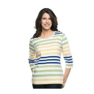Denim & Co. 1X Green Stripe Perfect Jersey 3/4 Sleeve Color-Block Scoop Neck Top