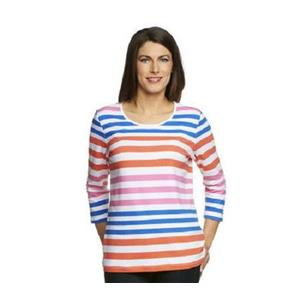 Denim & Co 2X Bright Blue Stripe Perfect Jersey 3/4 Sl ColorBlock Scoop Neck Top