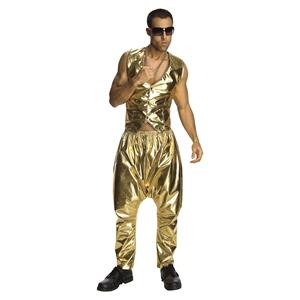 Gold Baggy Lame MC Hammer Style Pants Costume Accessory