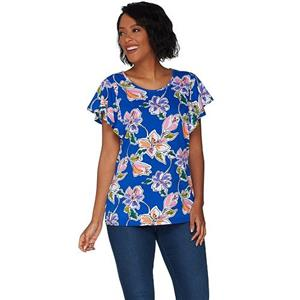Denim & Co. Size 1X Rich Blue Floral Print Scoop Neck Top with Flutter Sleeve