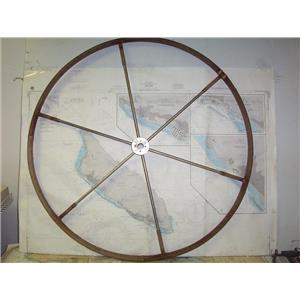 """Boaters' Resale Shop of TX 1909 2252.04 LEATHER WRAPPED 40"""" SHIPS WHEEL-1"""" SHAFT"""