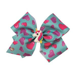 JoJo Siwa Blue Hearts Bow With Unicorn Charm Hair Bow Accessory
