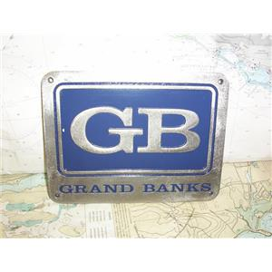 """Boaters' Resale Shop of TX 1909 1024.94 GRAND BANKS 6"""" x 8"""" STAINLESS NAME PLATE"""