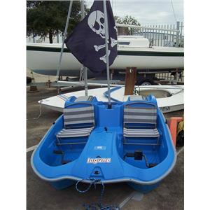 """Boaters' Resale Shop of TX 1909 4275.01 SUN DOLPHIN 7'8"""" BLUE  LAGUNA PEDAL BOAT"""