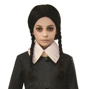 The Addams Family Cartoon Wednesday Child Black Pigtails Costume Wig