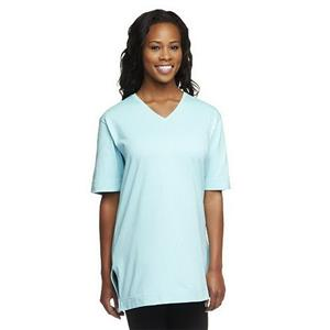 Denim & Co. Essentials Size 2X Light Aqua Short Sleeve Oversized V-neck T-shirt