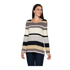 Isaac Mizrahi Live! Size 2X Neutral Striped Color Block Long Sleeve Tunic
