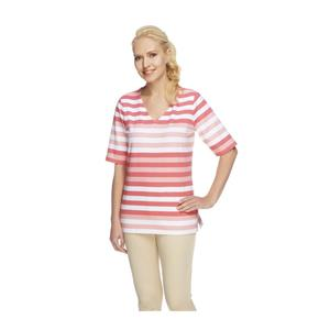 Denim & Co. Size 2X Warm Coral Perfect Jersey Elbow Sleeve V-neck Striped Top