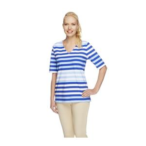 Denim & Co. Size 1X Vibrant Blue Perfect Jersey Elbow Sleeve V-neck Striped Top