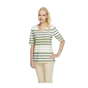 Denim & Co. Size 3X Moss Perfect Jersey Elbow Sleeve V-neck Striped Top