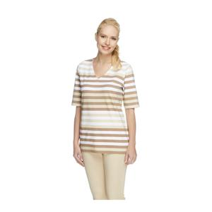 Denim & Co. Size 3X Beige Perfect Jersey Elbow Sleeve V-neck Striped Top