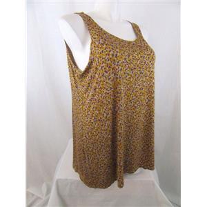 LOGO by Lori Goldstein Size 3X Gold Printed Knit Tank