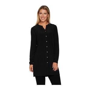 Susan Graver Size 3X Black Ribbed Novelty Knit Button Front Cardigan