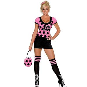 Sexy Pink and Black World Cup Kicker Soccer Costume MD