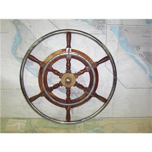 """Boaters' Resale Shop of TX 1911 1425.25 STAINLESS & WOODEN 21"""" STEERING WHEEL-1"""""""