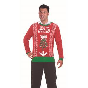 Forum Novelties Festive Ugly Christmas Sweater Kiss Me Mistletoe LG
