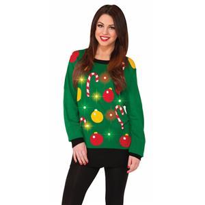 Festive Tis The Season LIGHT UP Ugly Christmas Sweater MD