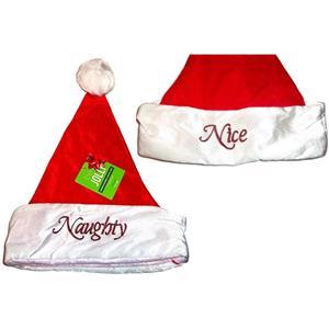 Plush Red White Santa Claus Naughty Nice Hat Christmas
