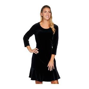 Isaac Mizrahi Live! Size 1X Black Knit Velvet 3/4 Sleeve Dress with Flounce