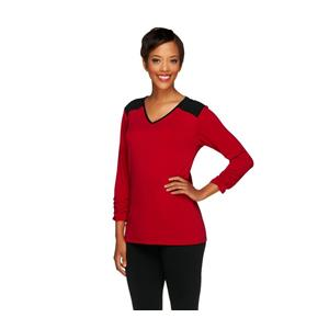 Susan Graver XXS Cranberry Liquid Knit 3/4 Sleeve Color-block Top w/Ruching