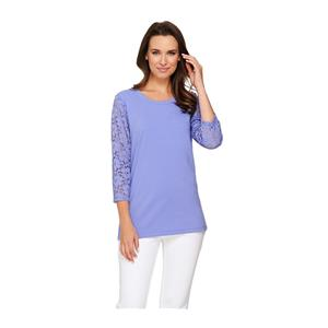 Denim & Co. Size 2X Periwinkle Perfect Jersey 3/4 Lace Sleeve Round Neck Top