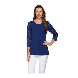 Denim & Co. Size 3X Bright Navy Perfect Jersey 3/4 Lace Sleeve Round Neck Top