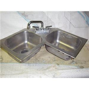 Boaters' Resale Shop of TX 1912 1752.01 DUAL CORNER SINK & FAUCET ASSEMBLY ONLY