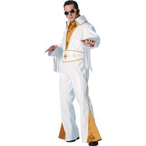 Elvis Presley White Vinyl Adult Rock Star Costume Jumpsuit Medium