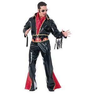 Elvis Presley Black Vinyl Adult Rock Star Costume Jumpsuit