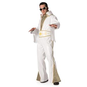 Elvis Presley White Vinyl Adult Rock Star Costume Jumpsuit Large