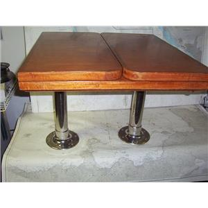 Boaters' Resale Shop of TX 1912 1772.01 WOODEN TRAWLER TABLE WITH PEDESTALS