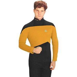 Star Trek: The Next Generation Gold Uniform Adult Costume Shirt Size MD