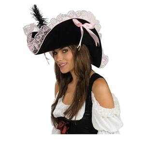 Black and Pink Lace Women's Pirate Hat
