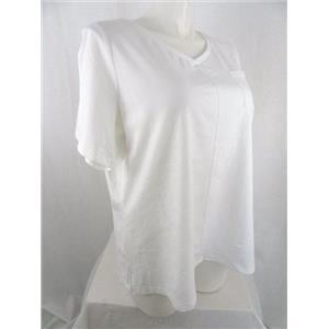 Denim & Co. Size 2X White Short Sleeve Top w/ Pocket & Seaming Detail
