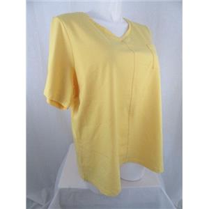 Denim & Co. Size 2X Yellow Short Sleeve Top w/ Pocket & Seaming Detail