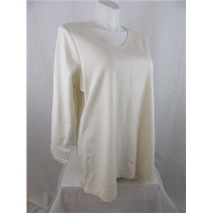Denim & Co. Size 3X Ivory Long Sleeve Top w/ Seaming Detail
