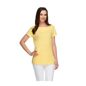 Liz Claiborne New York Essentials Size 1X Lemon Drop Bateau Neck Knit Top