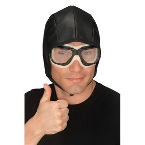 Black Simulated Leather Helmet With Goggles
