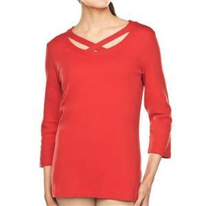 Liz Claiborne New York Size 1X Burnt Orange Knit T-shirt w/ Crossover Detail