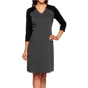 Liz Claiborne New York Size 1X Black/Charcoal 3/4 Sleeve Ponte Knit Dress