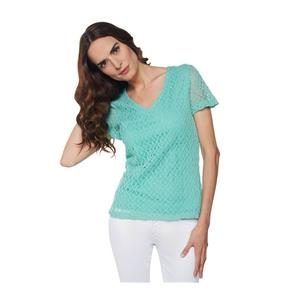 Liz Claiborne New York Size 1X Aqua Short Sleeve V-neck Crochet T-Shirt