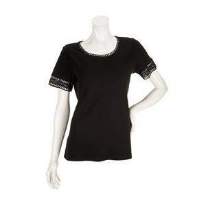 Liz Claiborne New York Size 1X Black Short Sleeve Lace Trim Knit T-Shirt