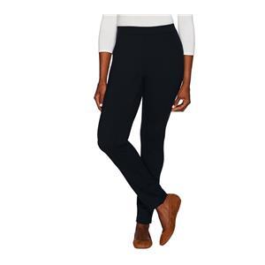 Denim & Co. Size 18W Regular Black Ponte Knit Pants with Seaming Detail