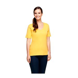 Liz Claiborne New York Essentials Size 1X Yellow Rounded V-Neck Cotton T-Shirt