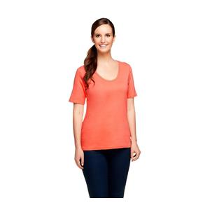 Liz Claiborne New York Essentials Size 1X Coral Rounded V-Neck Cotton T-Shirt