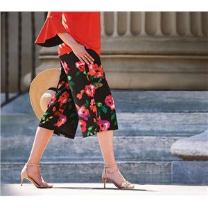 Susan Graver Size 3X Multi Floral Liquid Knit Pull-On Wide Leg Crop Pants